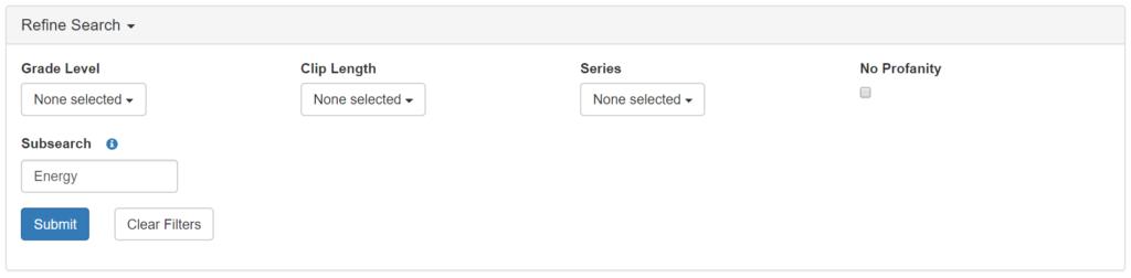 Subsearch Filter Screenshot