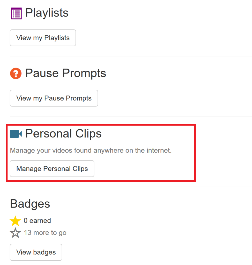 Manage Personal Clips button on your ClassHook profile.